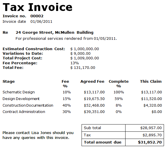 Data Tables Invoice Template Fee Detail Table - Formal invoice sample