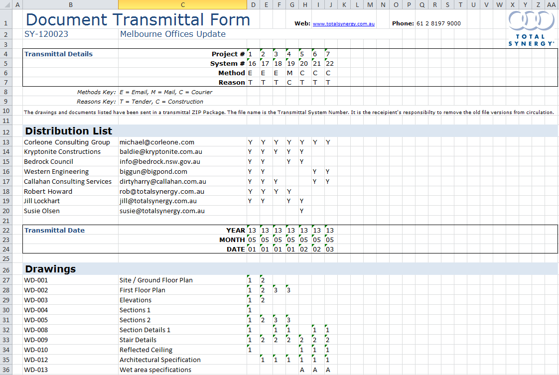 transmittal ms excel174 template