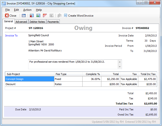 invoice discounts and surcharges using office items
