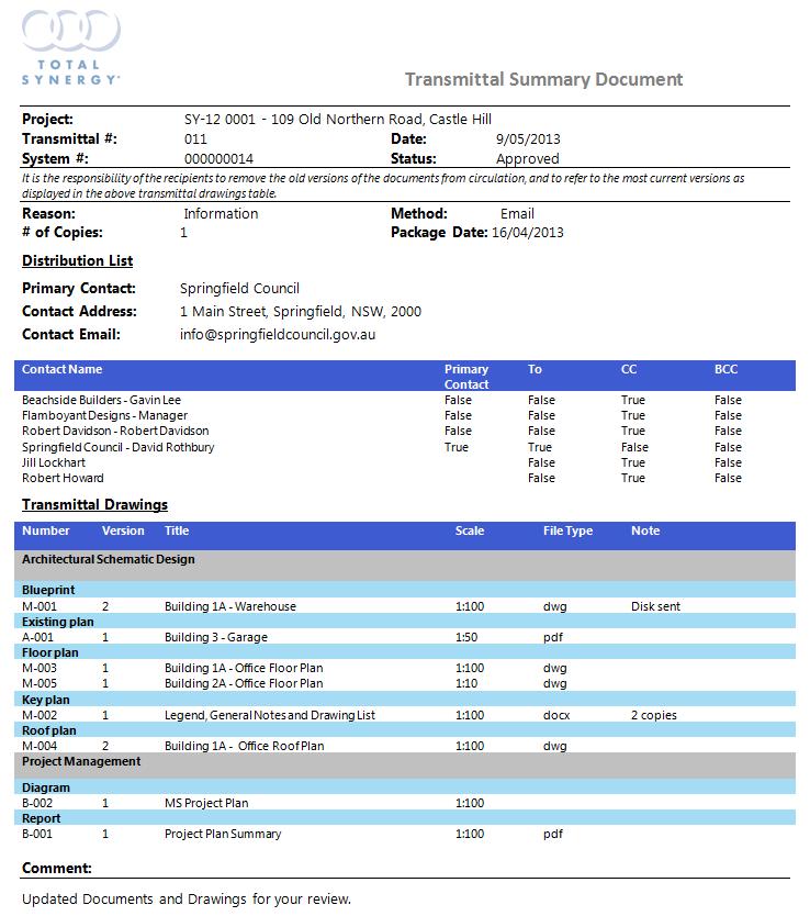 Transmittal Document Template