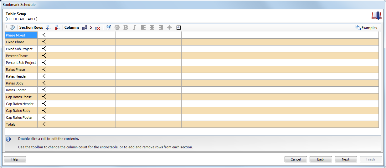 Data tables - Invoice template - Fee detail table