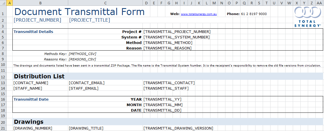Transmittal MS Excel® Template